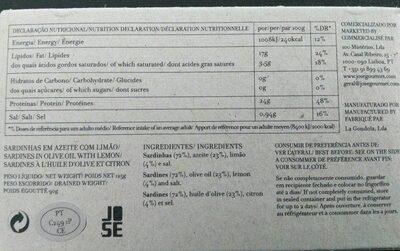 Sardines à L'huile D'olive Et Citron - Voedingswaarden - fr