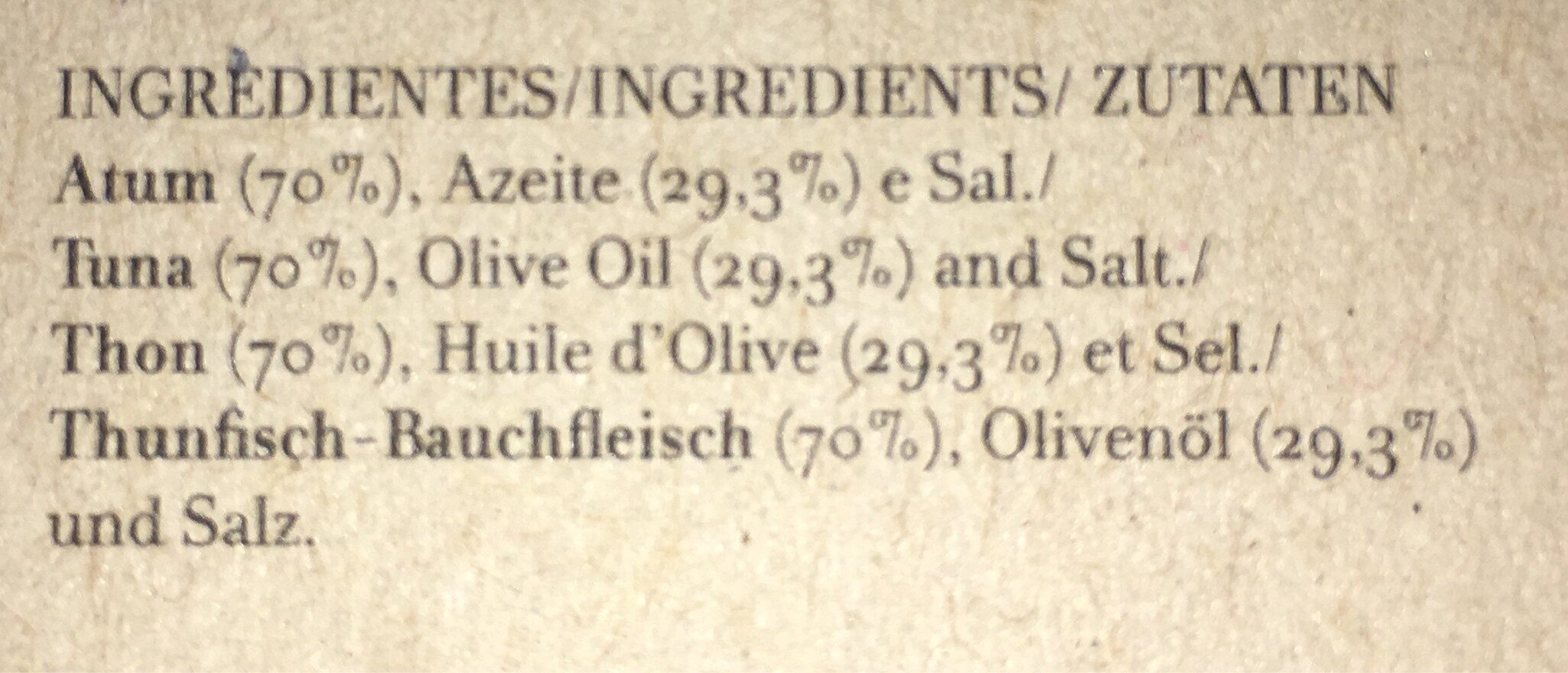 Ventrèche De Thon à L'huile D'olive - Ingredienti - fr