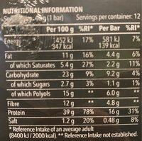 Zero Bar Caramel - Información nutricional