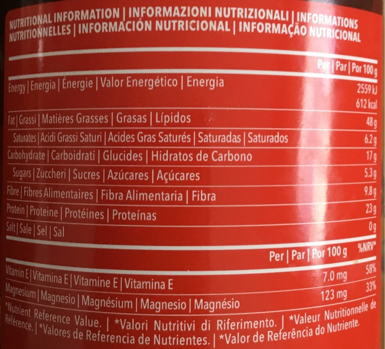 Nut Mix Butter - Información nutricional