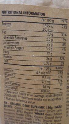 Organic D-Tox Supermix - Información nutricional