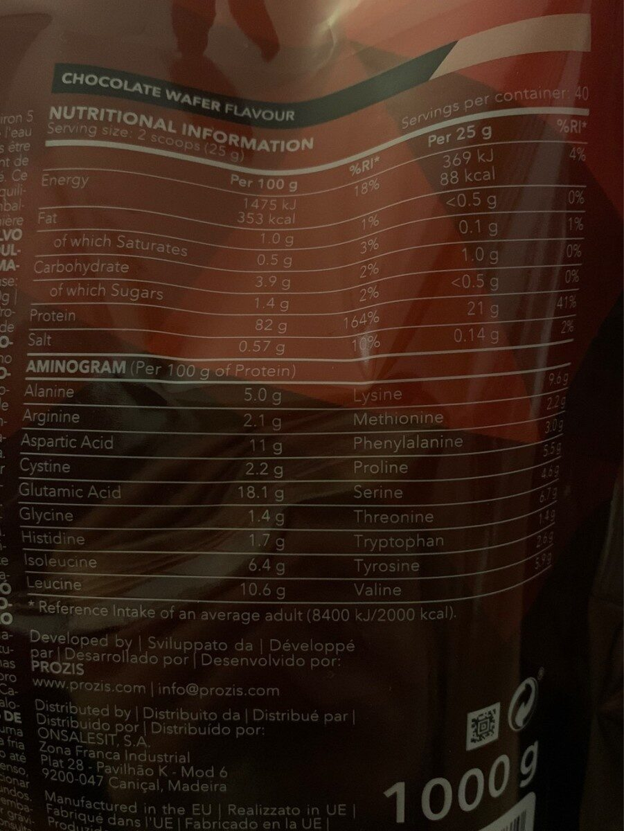 REAL WHEY - Nutrition facts