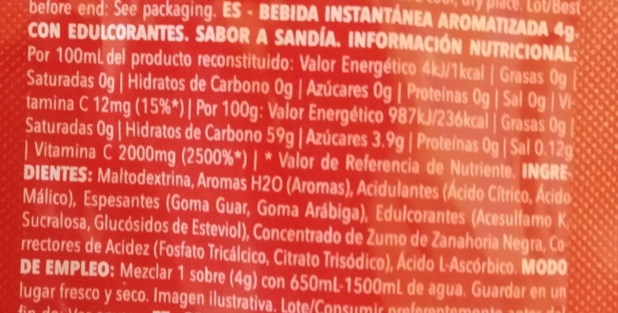 H2o infusion - Información nutricional