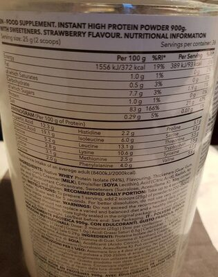 Whey isolate - Nutrition facts