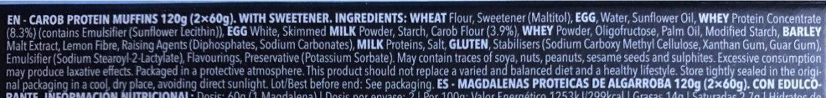 Protein Muffins Carob - Ingrediënten