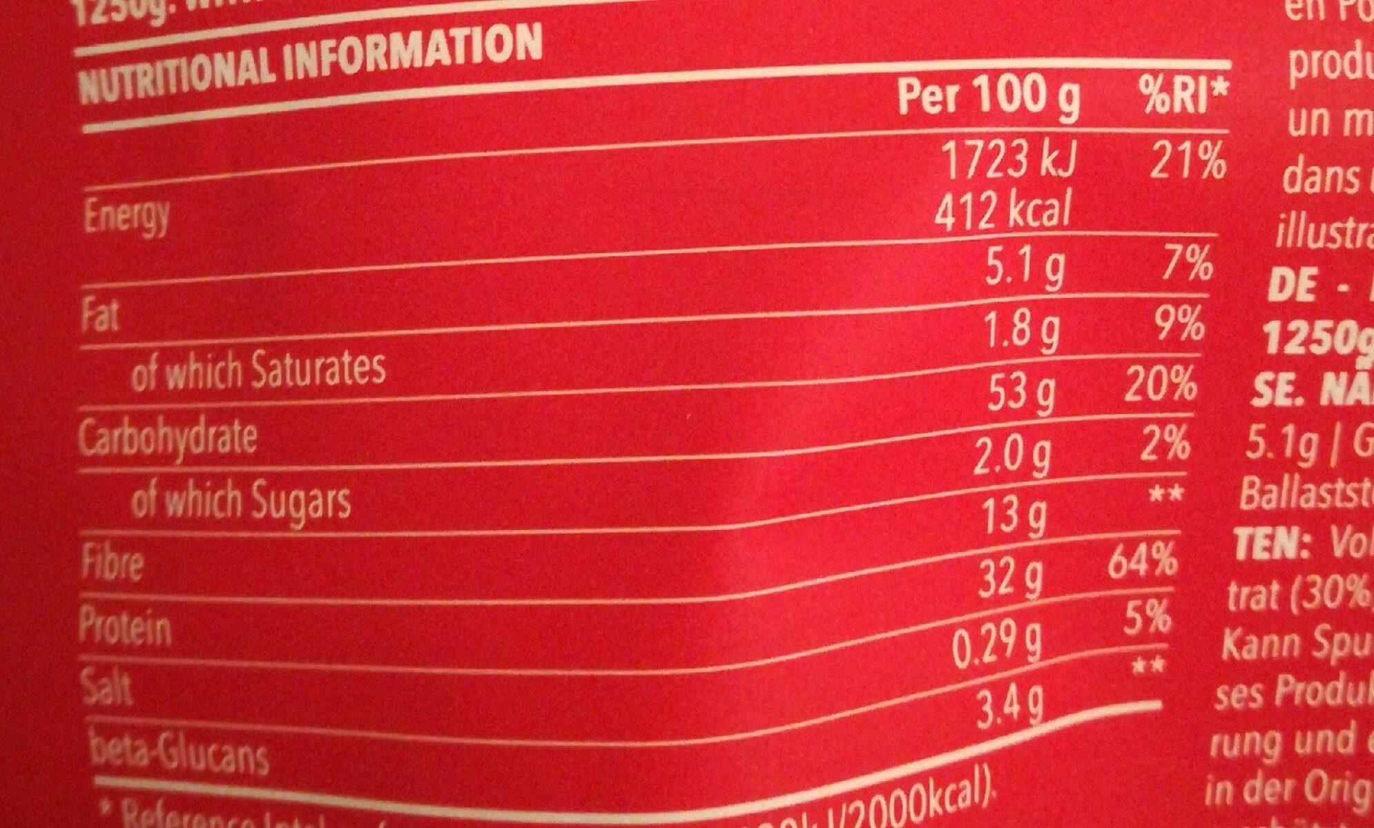 Harina de avena integral y proteína de suero de leche en polvo - Información nutricional