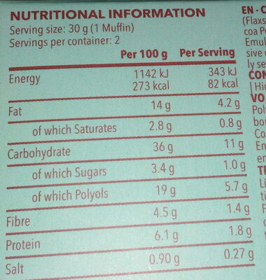 Muffin chocolat Crunchy - Nutrition facts