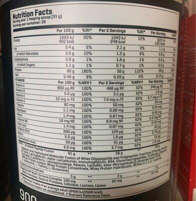 100% Whey Hydro Isolate - Información nutricional