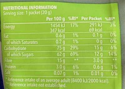 Crunchy green apple slices - Informations nutritionnelles - fr