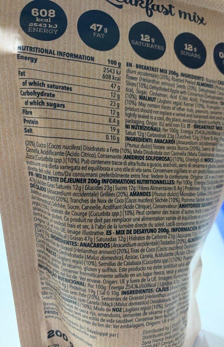 Breakfast mix - Información nutricional