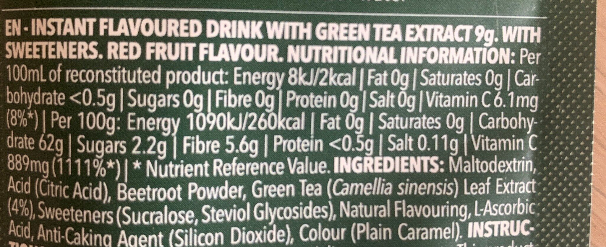 Green tea - Nutrition facts