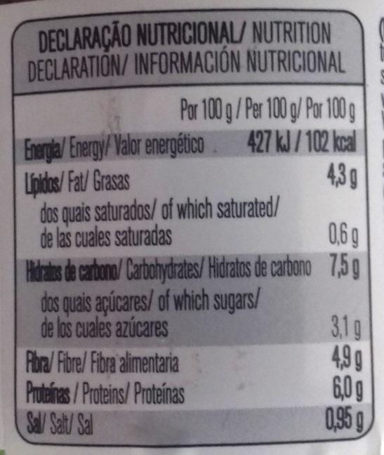 Chili vegetal - Información nutricional