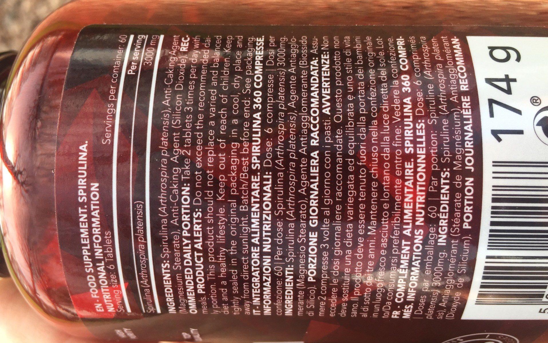 Spirulina 360 Tabs - Ingrédients