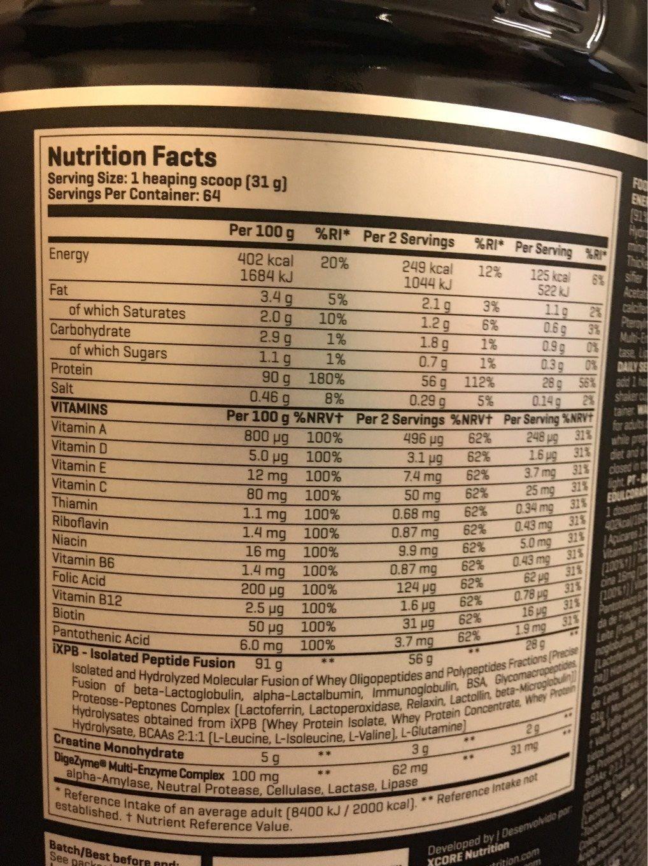 100% whey hydro isolate - Información nutricional - fr