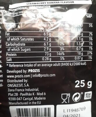 Real Whey 100% protein - Información nutricional