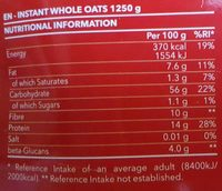 Instant whole oats natural - Voedingswaarden