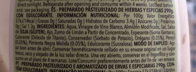 Sauce César Zero - Información nutricional