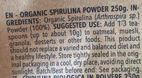 Organic spiruline - Ingrédients