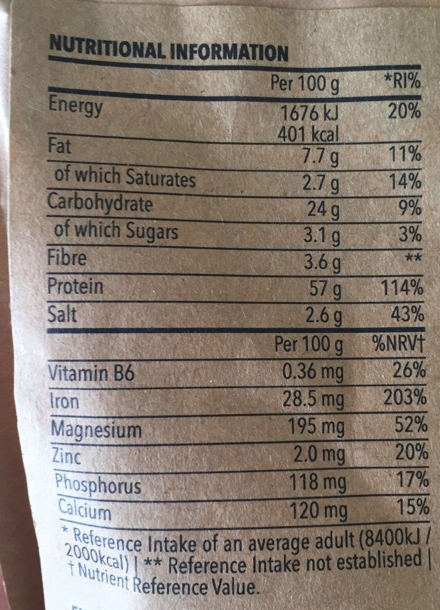 Organic spiruline - Informations nutritionnelles