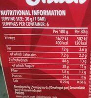 Protein Snack sabor Cookies & cream - Información nutricional