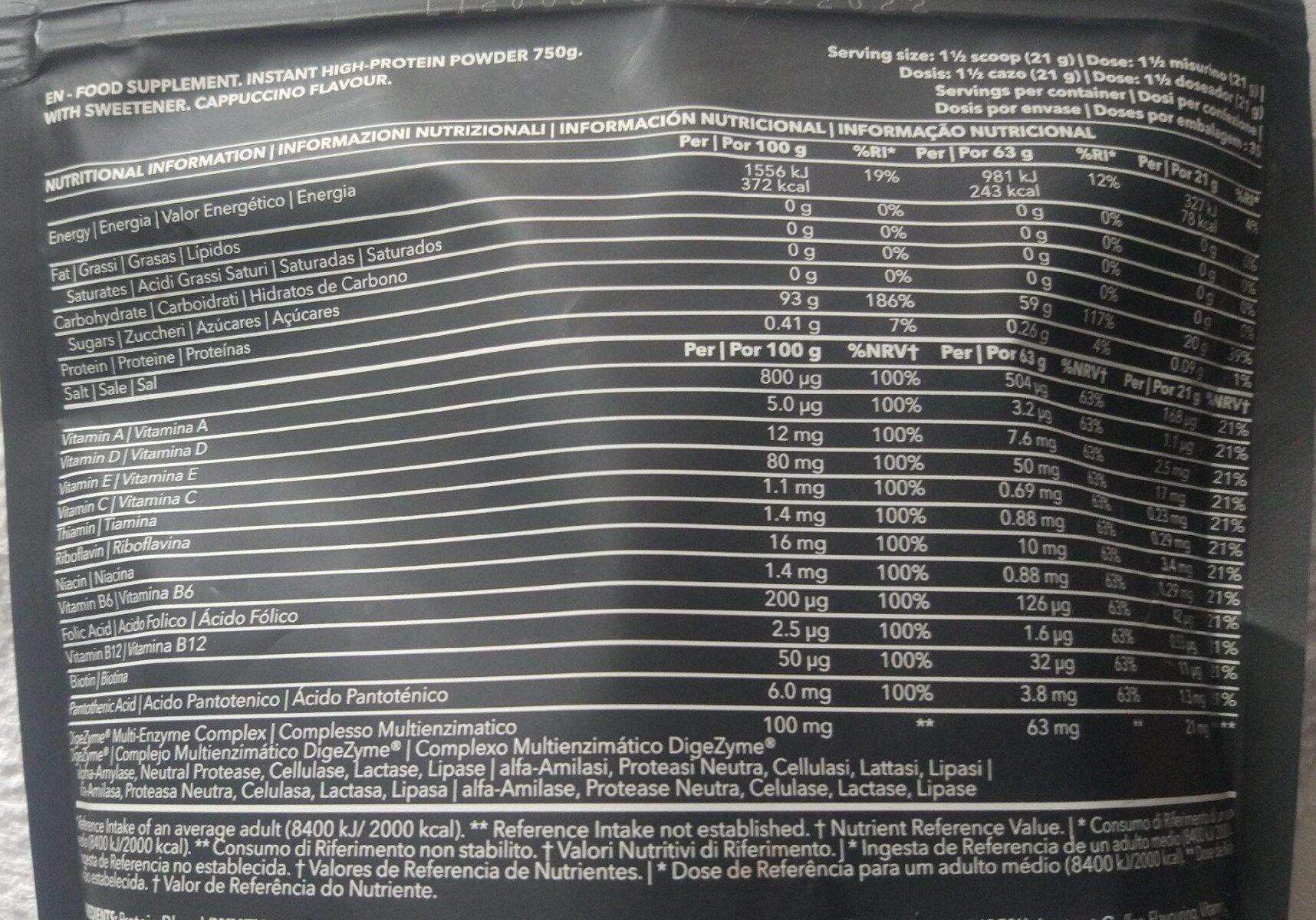 Zero diet whey - Informations nutritionnelles - es