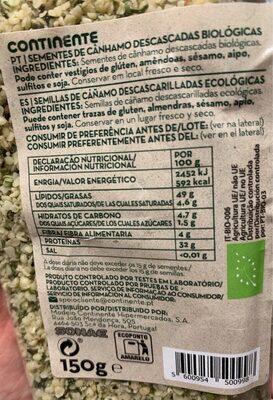 Bio semillas de cáñamo descascadas - Voedingswaarden - es