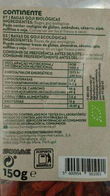 Bayas de Goji Bio - Voedingswaarden - es