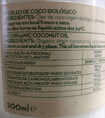 Huile de coco - Ingrediënten - pt