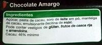 Chocolate Amargo - Ingredientes