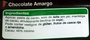 Chocolate Amargo - Ingredientes - pt