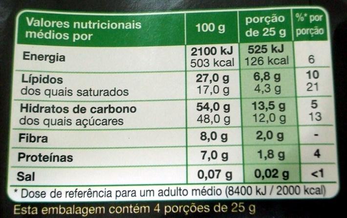 Chocolate Amargo - Informação nutricional - pt