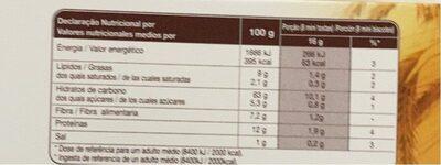 Mini Biscotes Integrales - Informació nutricional - es