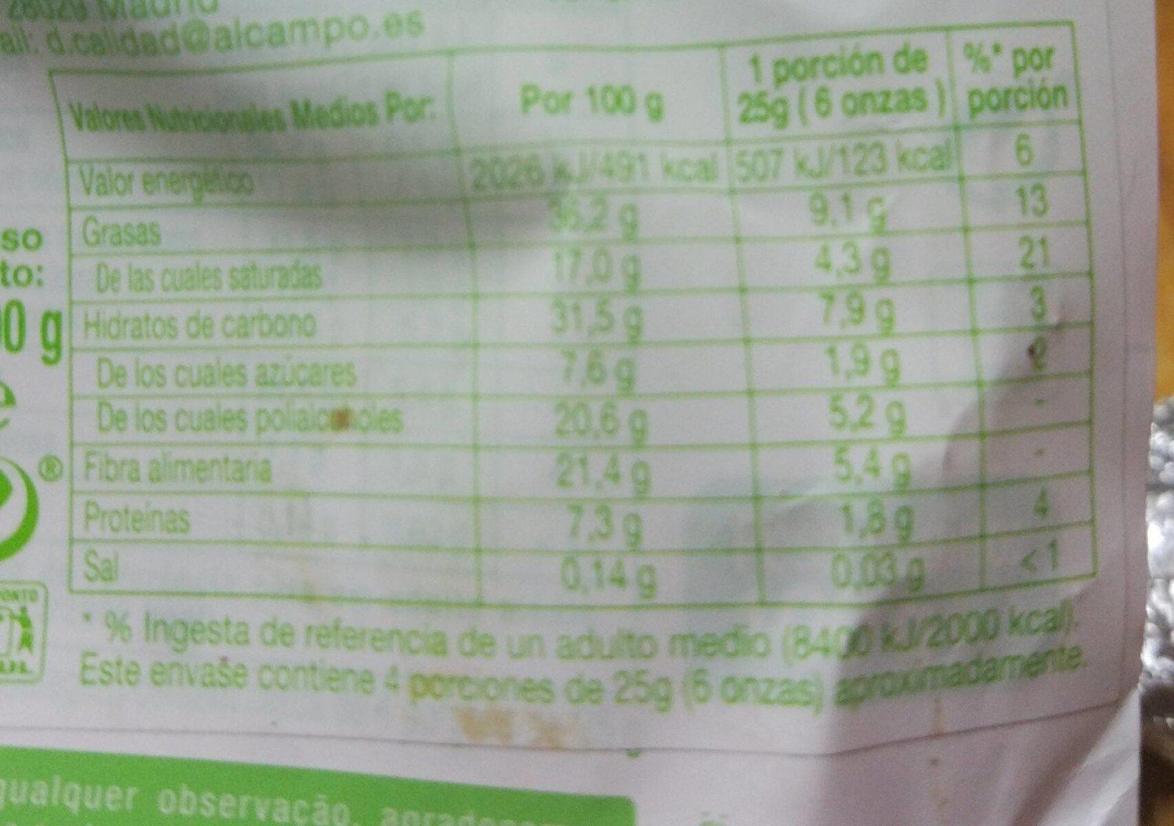 Chocolate de leite con avelãs - Informations nutritionnelles