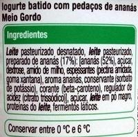 Iogurte pedaços ananás Auchan - Ingredientes
