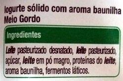 Iogurte baunilha aromas Auchan - Ingredientes
