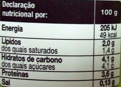 Iogurte natural - Nutrition facts - pt