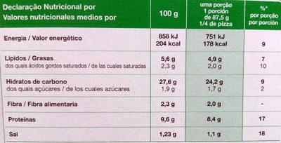 Pizza carbonara cocida a la piedrs - Informació nutricional - pt