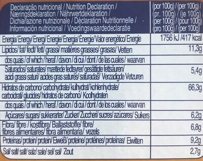 Vieira Integralis Biscuits 175 - Nutrition facts - fr