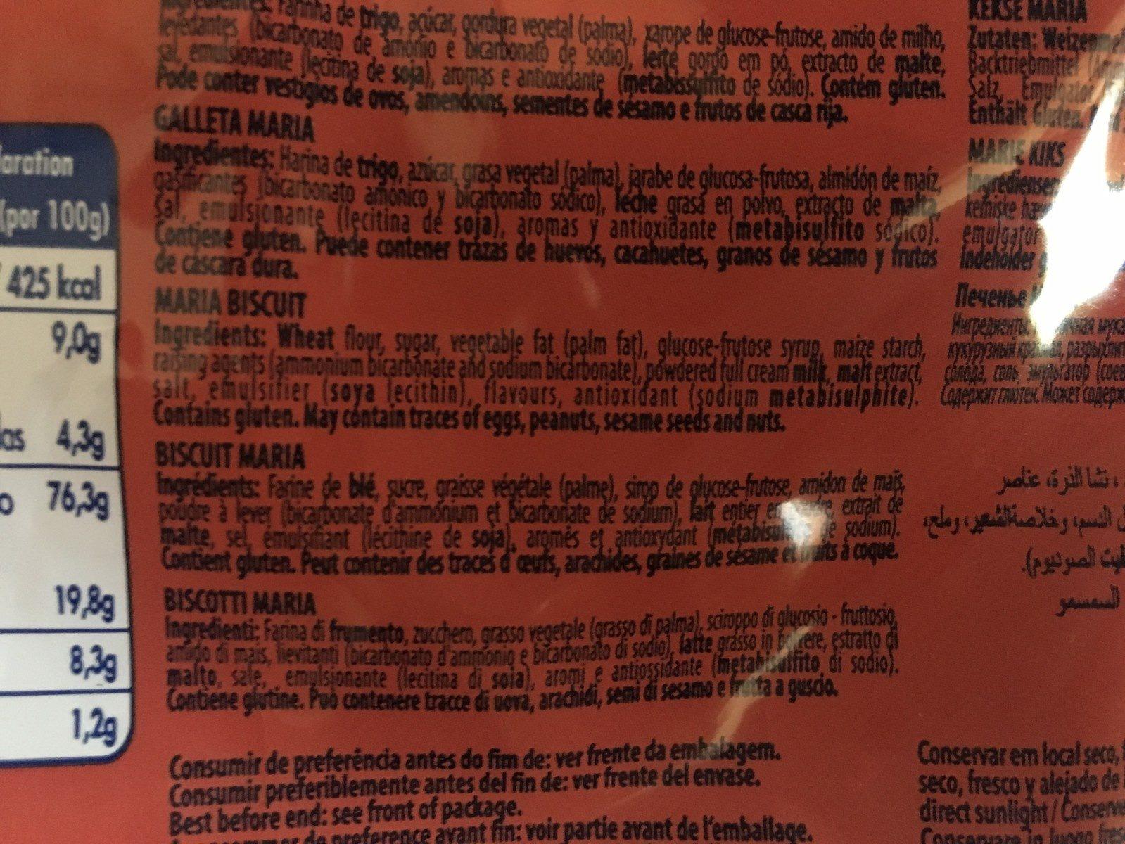 Gateau maria - Ingrediënten - fr