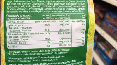 Vieira Wafers Lemon - Nutrition facts - fr