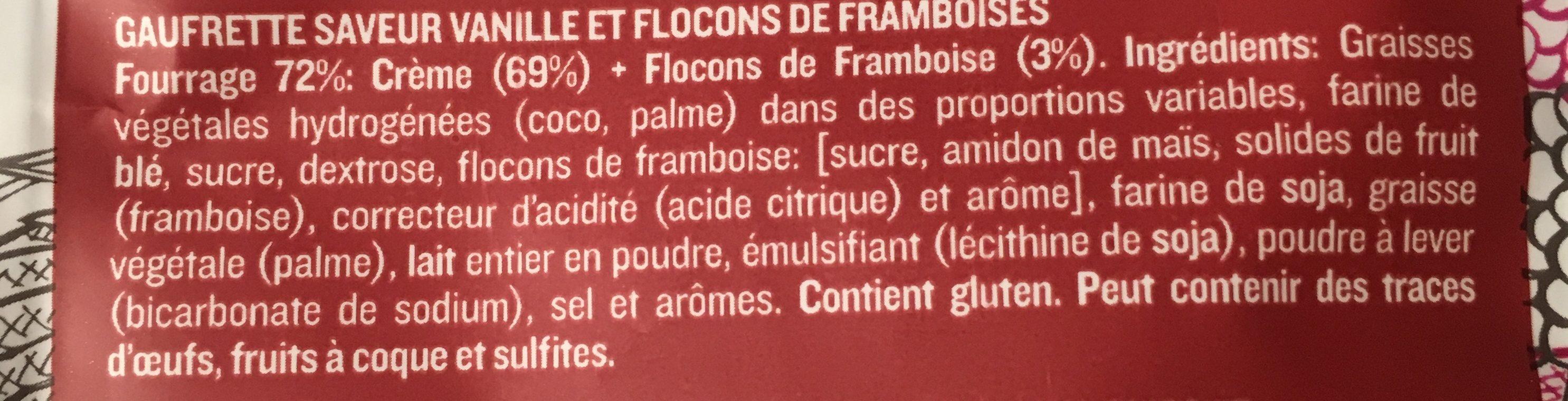 Gaufrette saveur vanille et flocons de framboises - Ingrédients - fr