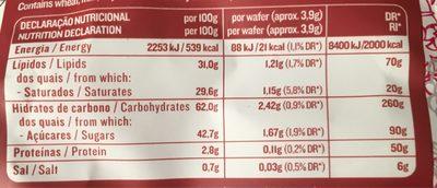 Gaufrette saveur vanille et flocons de framboises - Informations nutritionnelles - fr