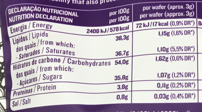 Wafers Cacau - Nutrition facts - fr