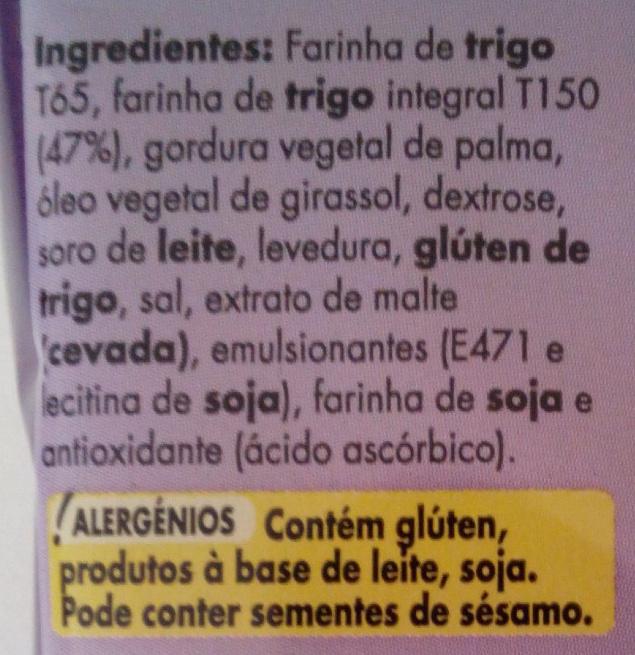 A Sua Tosta – Tosta de Trigo Integral - Ingredientes - pt