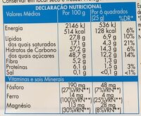 Chocolate preto - Nutrition facts - pt