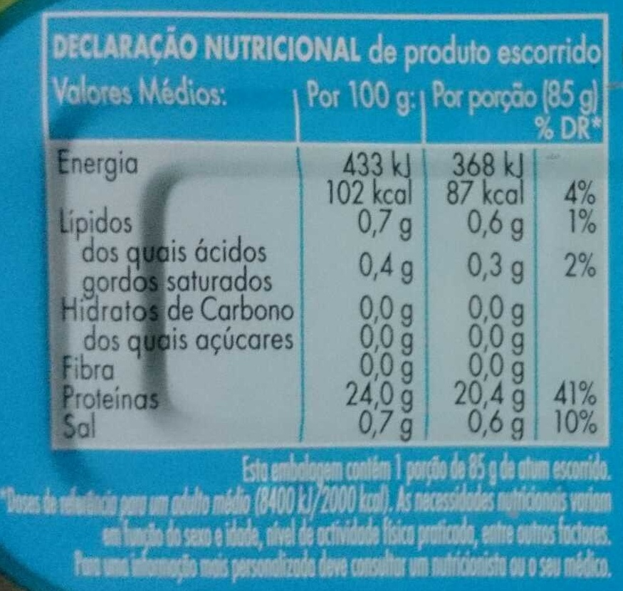 Atum ao natural - Nutrition facts