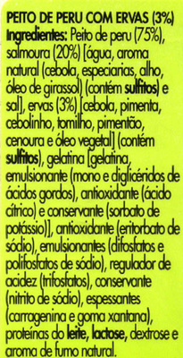 Peito de peru com ervas fatias finas - Ingrediënten