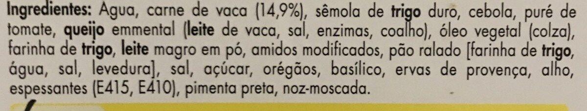 Canelloni bolonhesa - Ingrédients