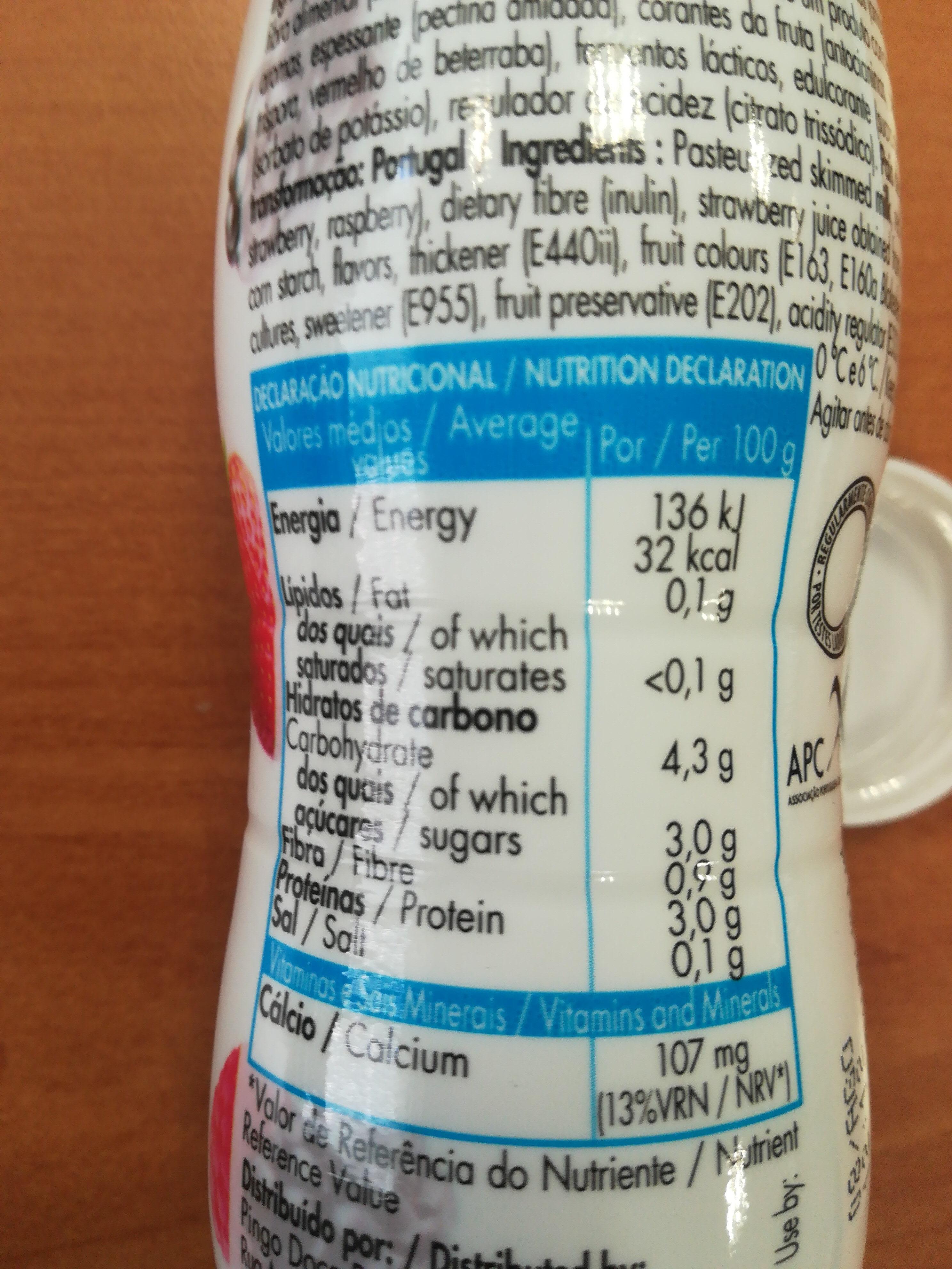Iogurte magro - Informação nutricional - pt