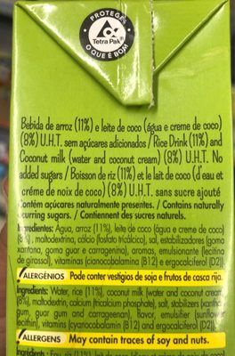 Lait de coco - Ingredients - en